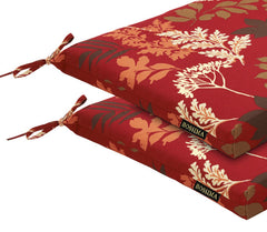 Red/Brown Floral Patio Seat Pad (Set of 2)
