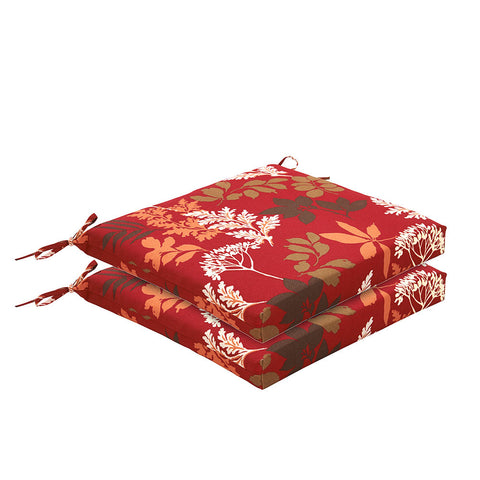 Bossima Rust Red Floral Chair Cushion Set