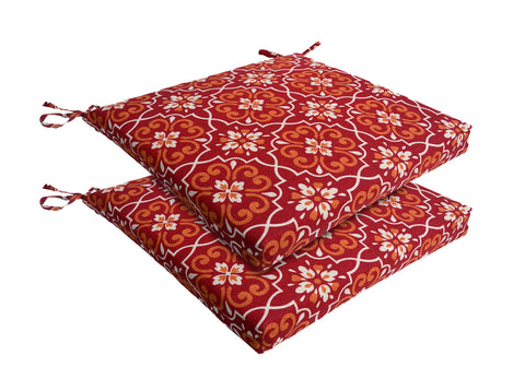 Red Damask Patio Seat Pad (Set of 2)