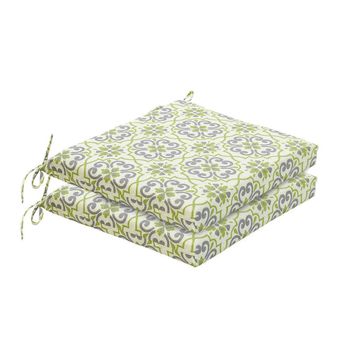 Bossima Green/Grey Damask Chair Cushion Set