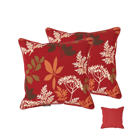 Red/Brown Floral Square Toss Pillow (Reversible, Set of 2)