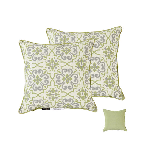 Green/Grey Damask/Piebald Square Toss Pillow