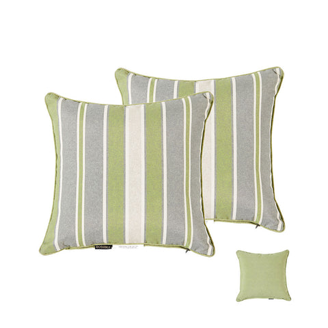 Bossima Green/Grey Striped/Piebald Square Toss Pillow