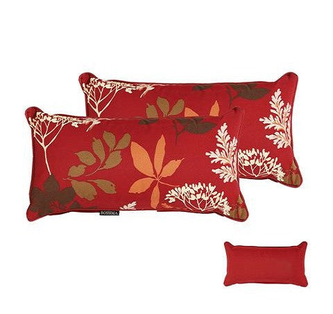 Red/Brown Floral Rectangle Toss Pillow (Reversible, Set of 2)