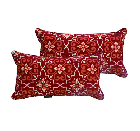 Red Damask Rectangle Toss Pillow (Reversible, Set of 2)