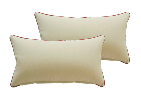 Light Khaki Rectangle Toss Pillow (Reversible, Set of 2)