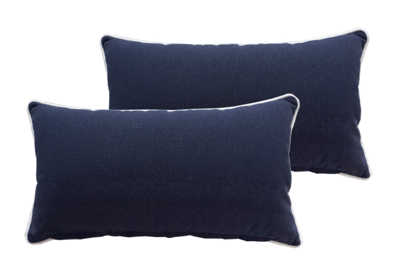 Navy Blue Rectangle Toss Pillow (Reversible, Set of 2)
