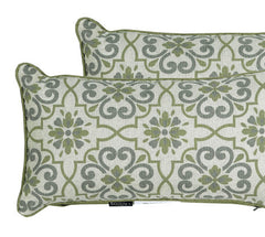 Green/Grey Damask/Piebald Rectangle Toss Pillow (Reversible, Set of 2)