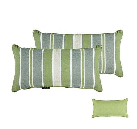 Green/Grey Striped/Piebald Rectangle Toss Pillow (Reversible, Set of 2)