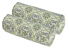 Green/Grey Damask Round Bolster Pillow (Set of 2)