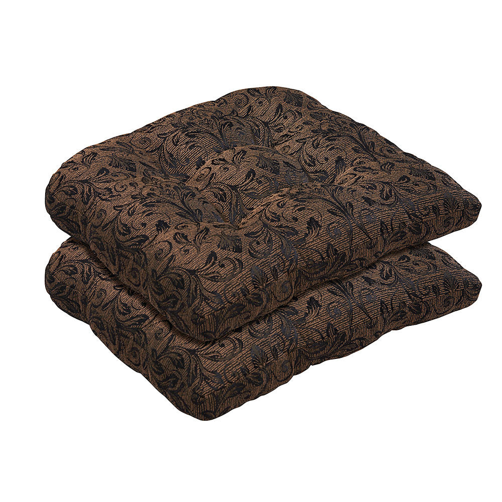 Black/Gold Damask Wicker Chair Cushion Set   Bossima Outdoor Furniture