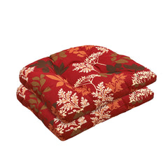 Bossima Rust Red Floral Wicker Chair Cushion Set