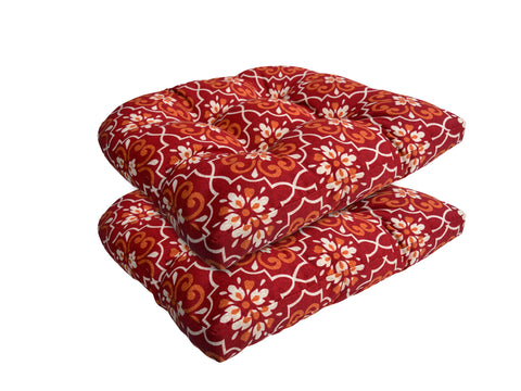 Red Damask Wicker Chair Cushion (Set of 2)
