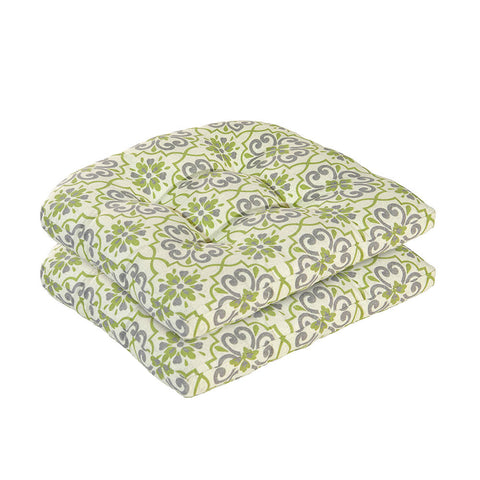 Bossima Green/Grey Damask Wicker Chair Cushion Set
