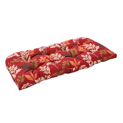 Bossima Red/Brown Floral Wicker Loveseat Cushion