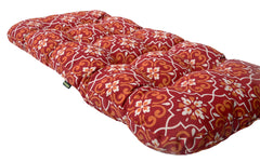 Red Damask Wicker Loveseat Cushion