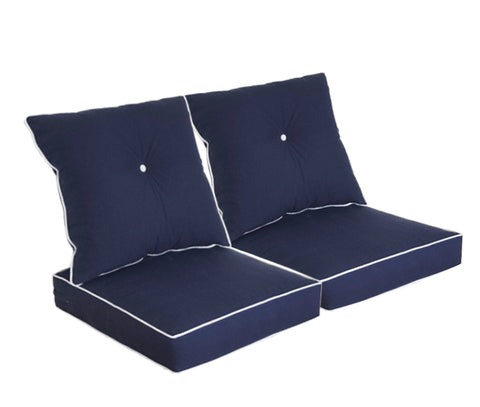 Navy Blue Deep Seat Cushion Set (Sets of 2)