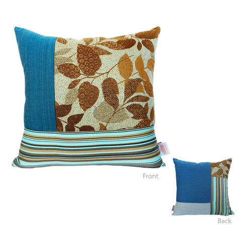 Bossima Blue Square Mosaic Pillow