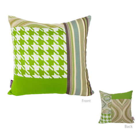 Bossima Green Square Mosaic Pillow