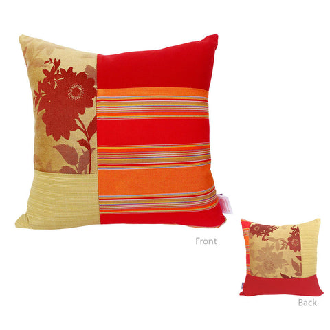 Orange Square Mosaic Pillow