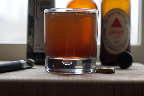Craft beer cocktail, the Snakebite made with Hard apple cider and pale ale