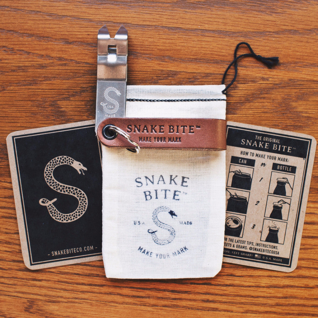 Snake Bite Bottle Opener - Leather Strap with Personalized Initials