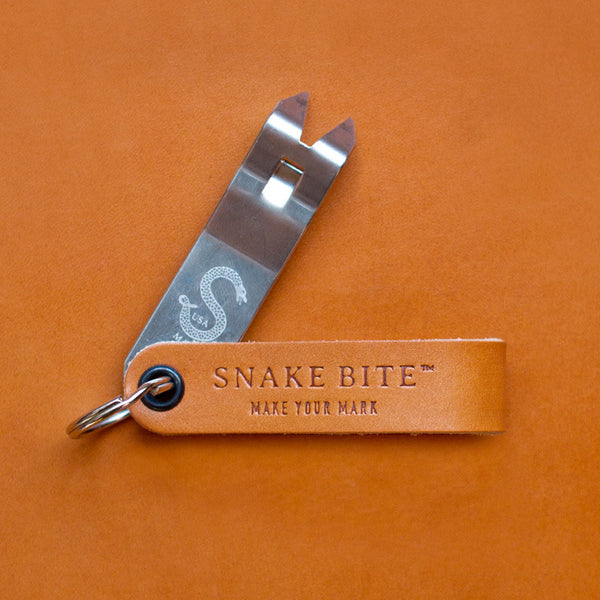 Original Snake Bite Keychain Bottle Opener - Barley Leather