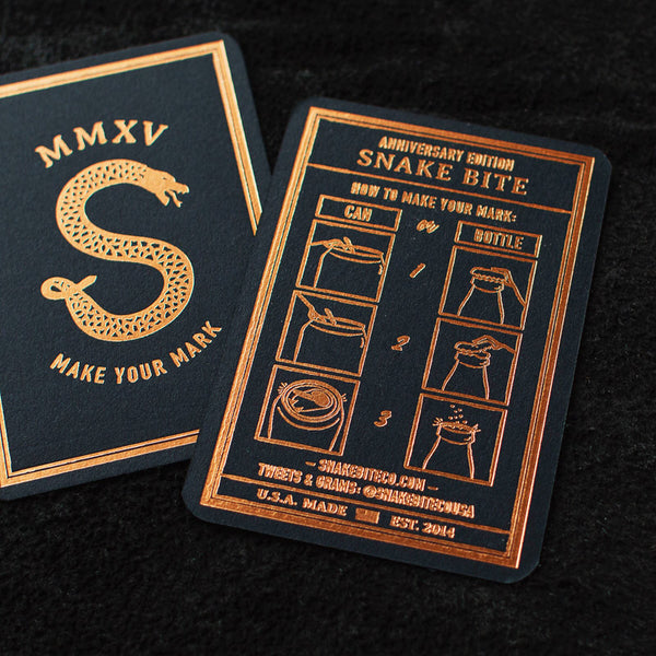 Snake Bite Bottle Opener Anniversary Edition Midnight Copper Letterpress Insert Card