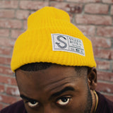 Snake Bite Beanie knit cap - Bright Yellow