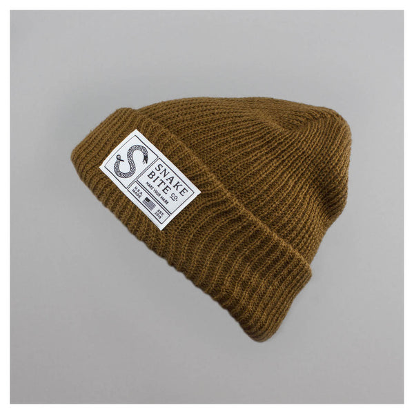 Snake Bite beanie knit cap (rusty brown)