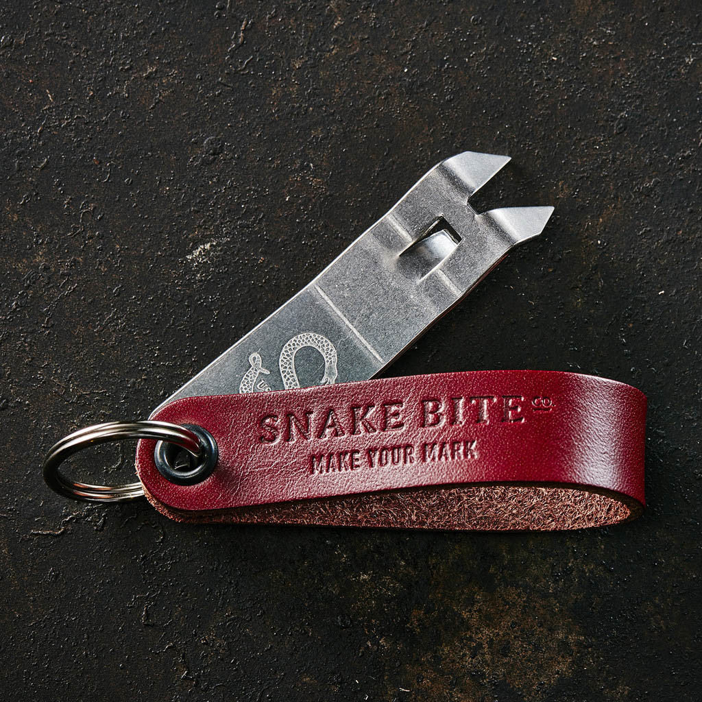 snake bite keychain bottle opener blood red us made snake bite co. Black Bedroom Furniture Sets. Home Design Ideas