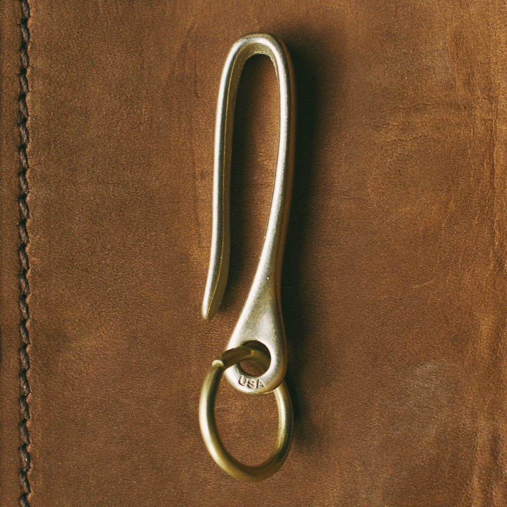 Snake Hook Solid Brass Key Loop Pocket Clip Keychain with Ring ... a39f4b8517