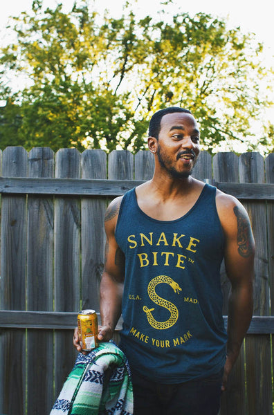 Snake Bite logo tank top in blue