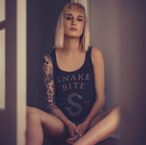 Ladies tank top with Snake Bite logo