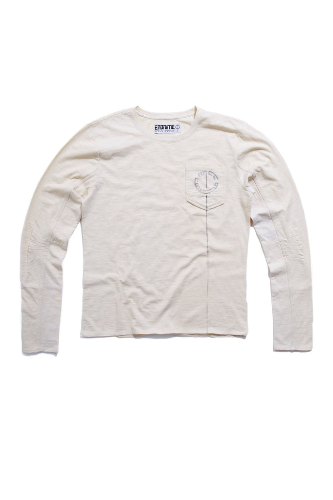 M5012GH01PID White -Ergonomic long sleeve shoulder dart graphic stab stitch tee