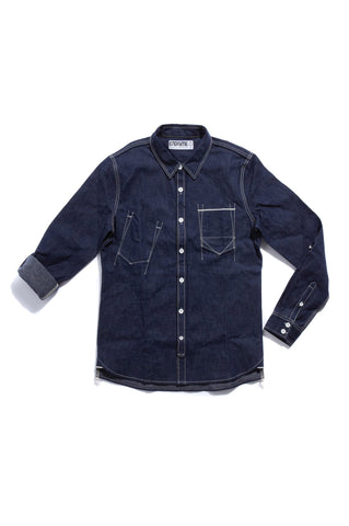 M3016CL01RAW-Piping chambray tail shirt/raw