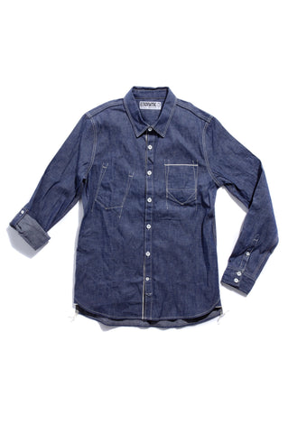 M3016CL03RAW-Piping chambray tail shirt/raw