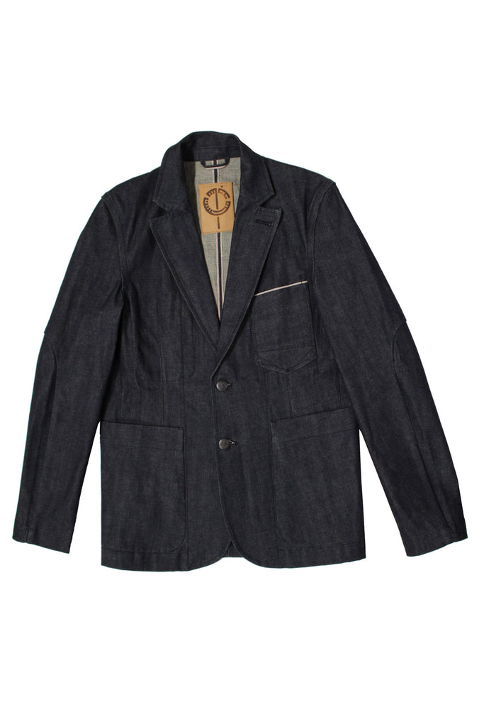 M4077KU07RAW-Dart manipulatin suit jacket in stretch selvedge/raw