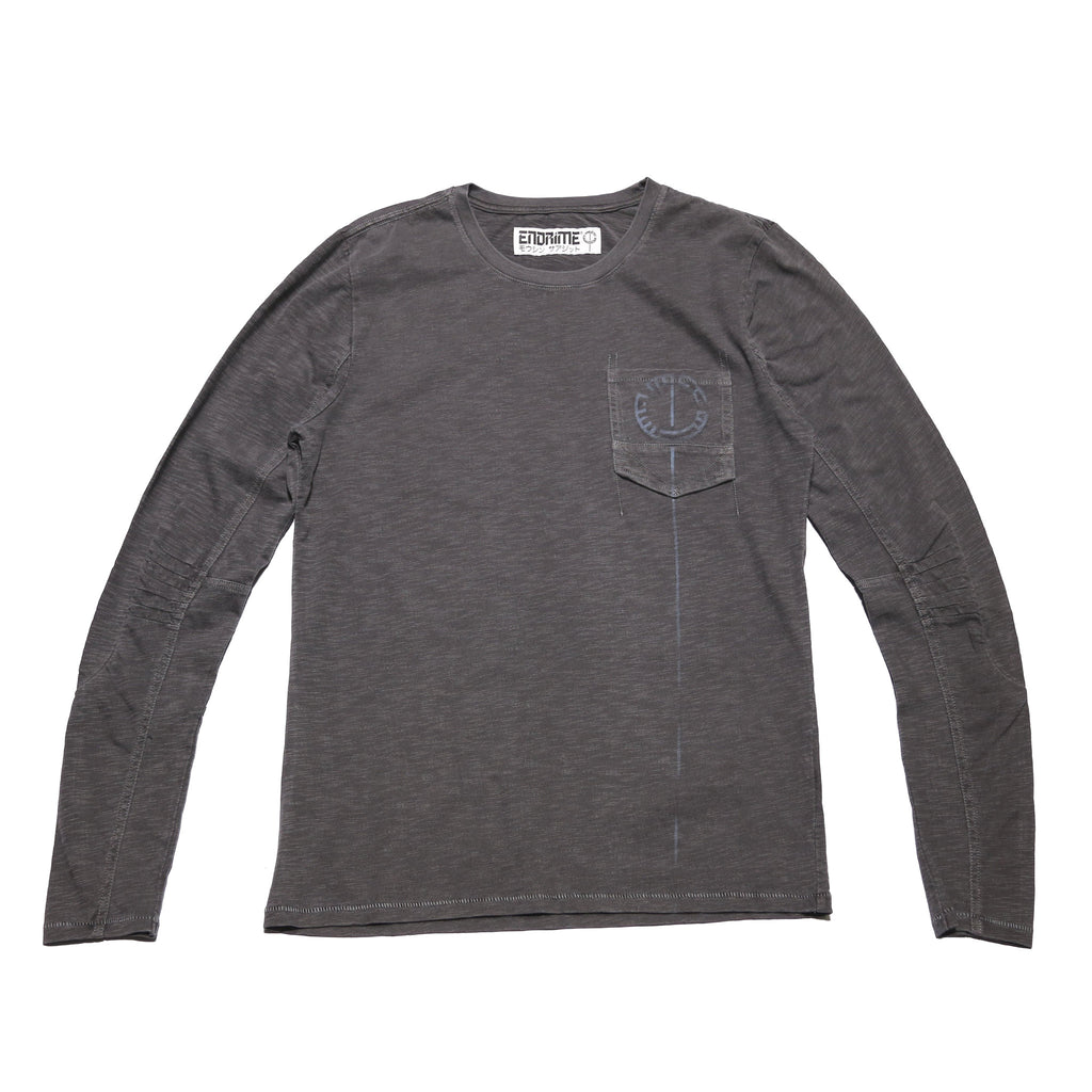 M5012GH01PID Grey -Ergonomic long sleeve shoulder dart graphic stab stitch tee