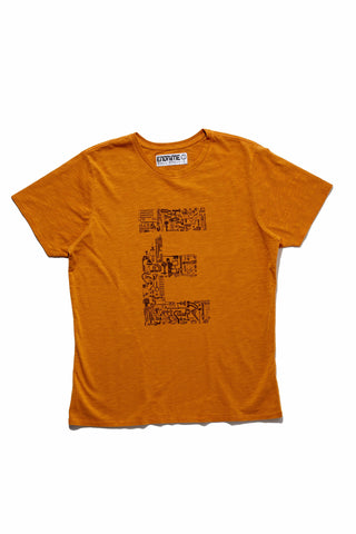 M5028GH01PID Vintage Orange-Graphic 'E' component tee
