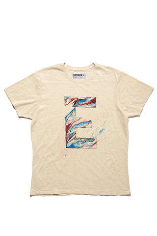 M5031GH01PID White-Graphic 'E' water colour tee