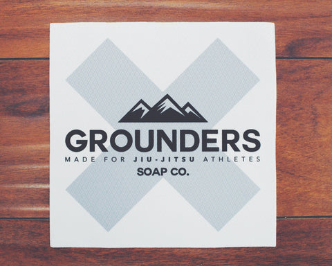 "Grounders ""X"" Jiu-Jitsu Patch - White & Grey"