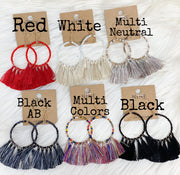 Glass Bead Tassel Earrings