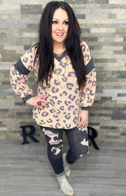 Pink Leopard Balloon Sleeve Top (S-3X)