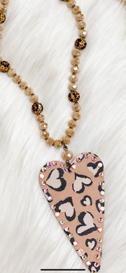 Taupe Heart Pendant Necklace w/AB Stones