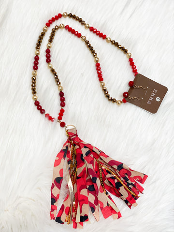 Red Camo Tassel Necklace
