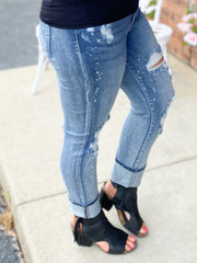 Destroyed Bleach Splatter Boyfriend Jeans