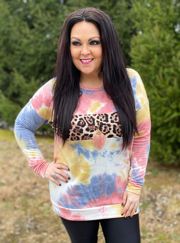 Tie Dye Pullover w/Leopard Accent (S-3X)