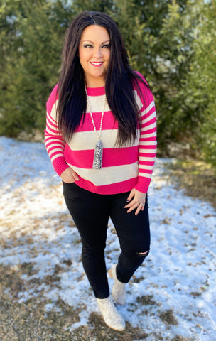 Hot Pink Stripe Sweater