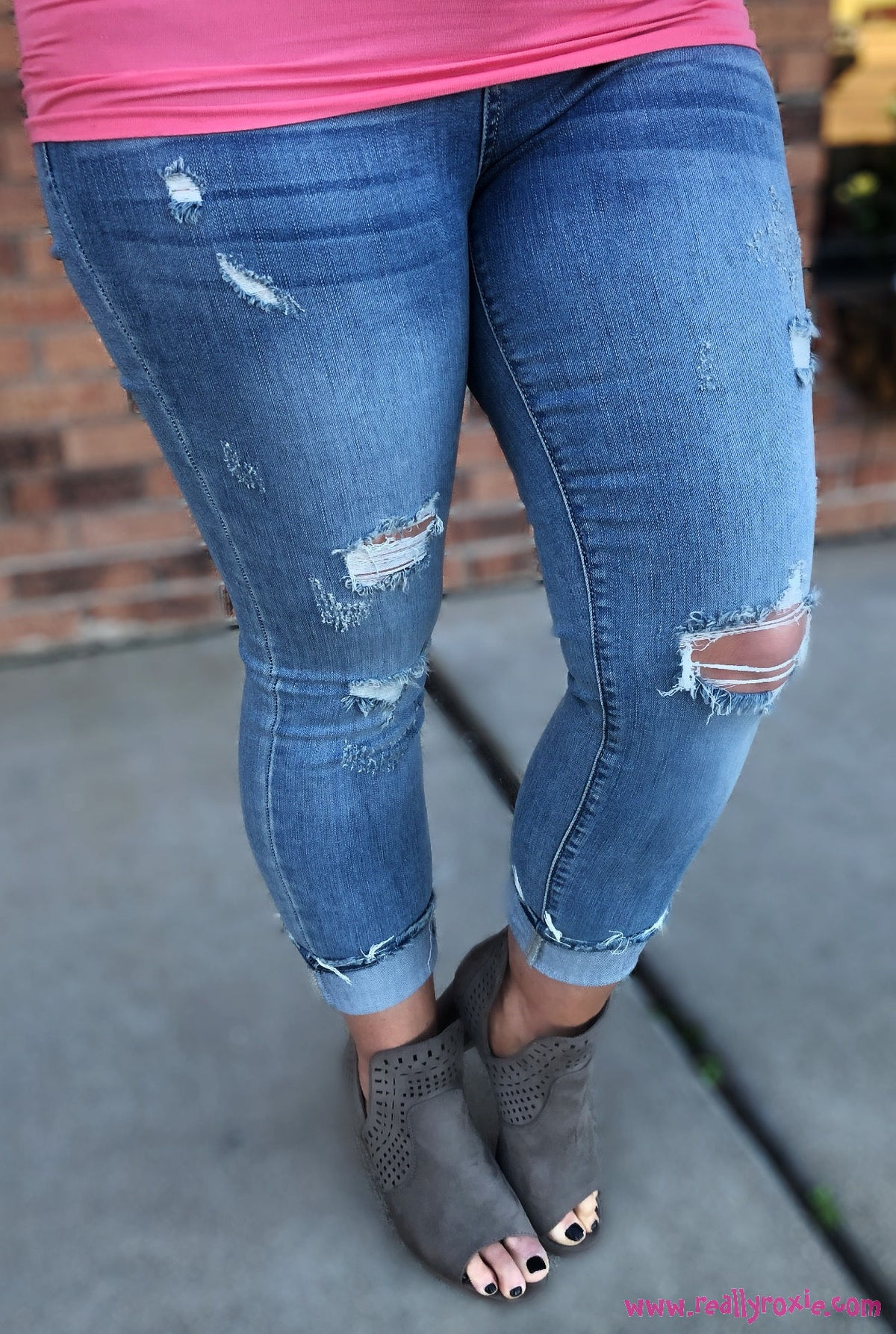 Destroyed Cropped Skinny Jeans by Judy Blue